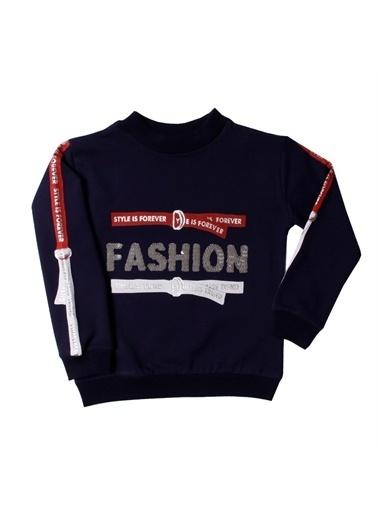 Toontoy Kids Toontoy Kız Çocuk Sweatshirt Kollari Şeritli Pullu Fashion Nakış - 8 Yaş - 128Cm Boy Lacivert